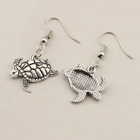 Discount Carved Tortoise Drop Earrings - TB009 SILVER  Mobile