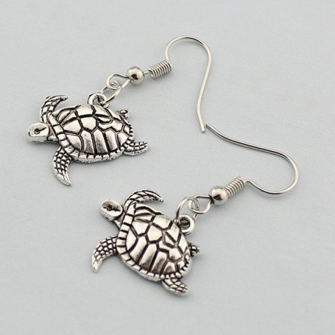 Chic Carved Tortoise Drop Earrings - TB009 SILVER  Mobile