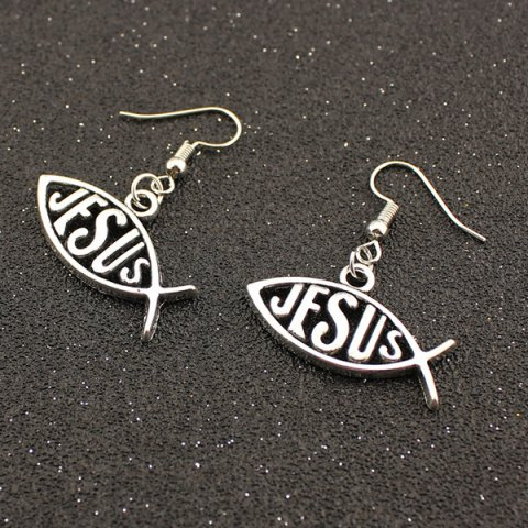 Outfits Letter Fish Drop Earrings TB SILVER