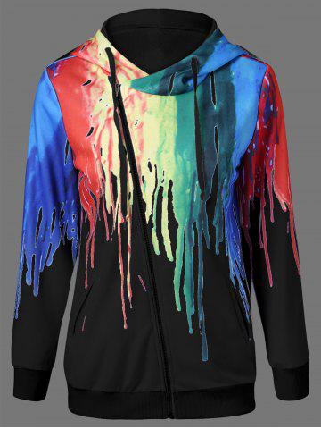 Outfits Inclined Zip Splatter Paint Hoodie - XL BLACK Mobile