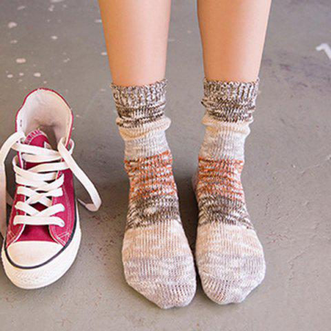 Best Color Block Design Crew Knitted Socks - BROWN  Mobile