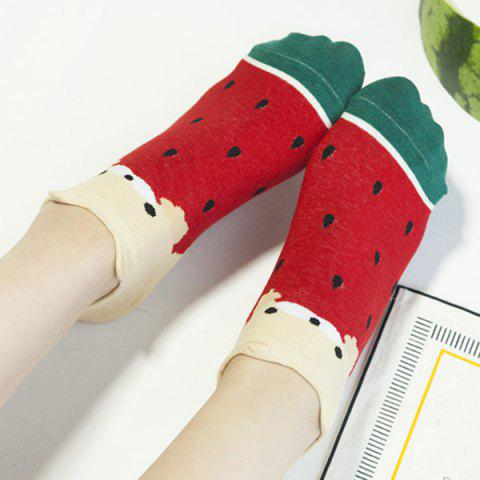 Unique 2 Pairs of Watermelon Patterned Cotton Blend Ankle Socks