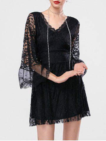 Bell Sleeve Mini Lace Short Dress with Sleeves - Black - One Size