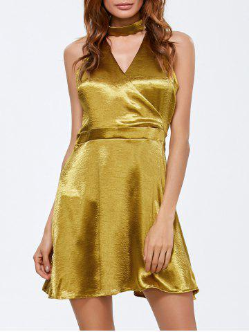 Affordable Choker Surplice Gilding Dress