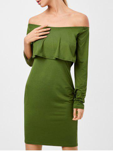 Long Sleeves Flounced Off The Shoulder Dress - Green - S