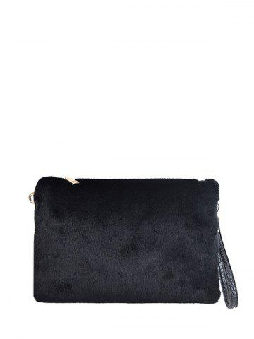 Store Embossed Panel Fluffy Clutch Bag