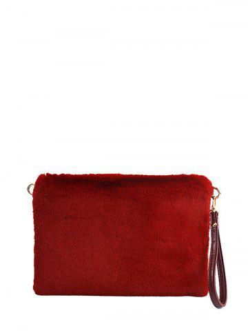 Cheap Embossed Panel Fluffy Clutch Bag