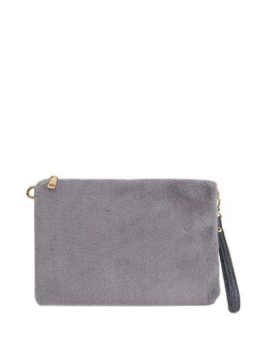 Outfit Embossed Panel Fluffy Clutch Bag
