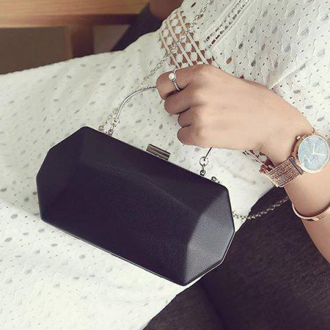 Outfit Faux Leather Geometrical Shape Evening Bag - BLACK  Mobile