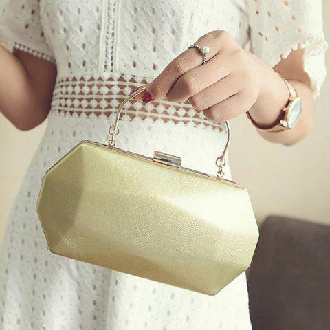 Chic Faux Leather Geometrical Shape Evening Bag - GOLDEN  Mobile