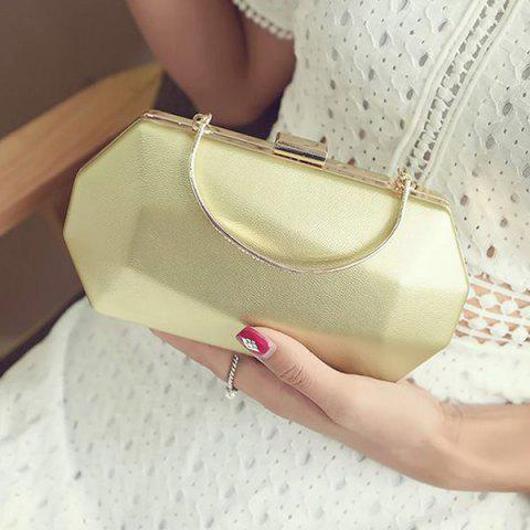 Store Faux Leather Geometrical Shape Evening Bag - GOLDEN  Mobile