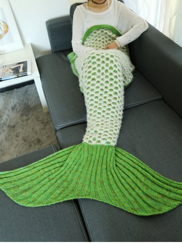 Double Deck Hollow Out Mesh Crochet Knit Mermaid Blanket Throw - Light Green - One Size