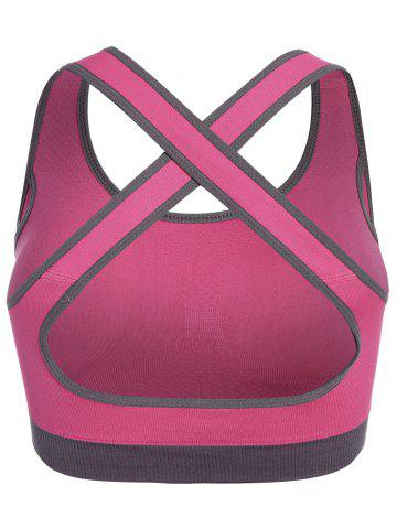 Trendy Low Impact Seamless Padded Sports Bra - L ROSE RED Mobile