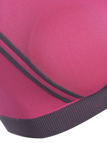 Chic Low Impact Seamless Padded Sports Bra - L ROSE RED Mobile