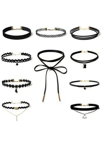 Fashion Flower Triangle Bar Choker Necklace Set BLACK