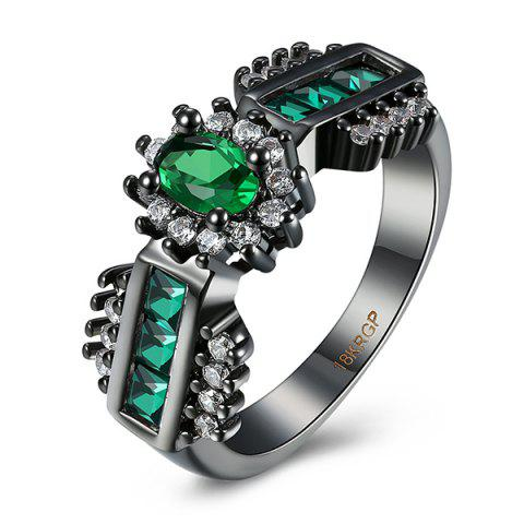 Artificial Emerald Oval Ring - Green - 6