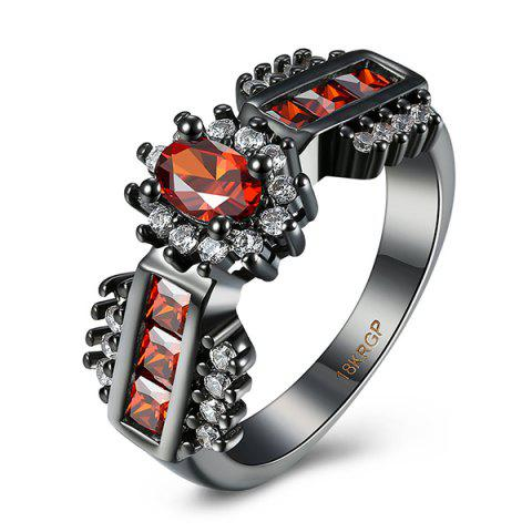 Artificial Ruby Oval Ring - Red - 9