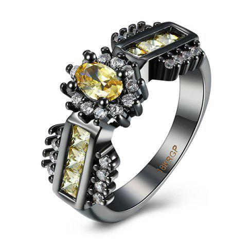 Artificial Topaz Oval Ring - Yellow - 9