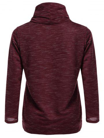 Latest Front Pocket Cowl Neck Sweatshirt - S WINE RED Mobile