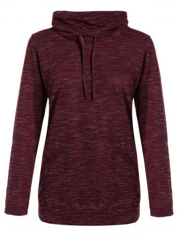 Online Front Pocket Cowl Neck Sweatshirt - S WINE RED Mobile