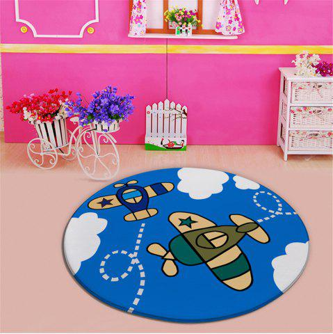 Buy Cartoon Plane Pattern Antislip Living Room Round Carpet - Blue