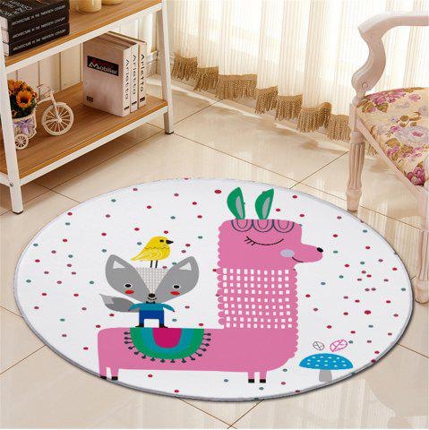 Outfit Antislip Cartoon Little Dot Fleece Fabric Round Carpet - WHITE  Mobile