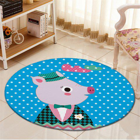 Outfits Antislip Round Cartoon Animal Little Dot Fleece Carpet - BLUE  Mobile