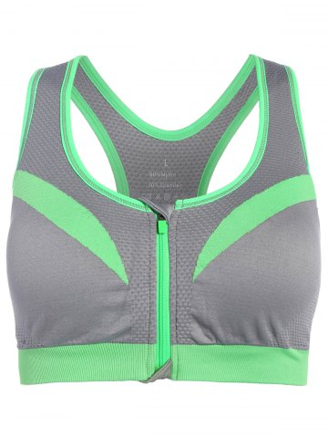 Shop Front Close Racerback Padded Zipper Front Sports Bra