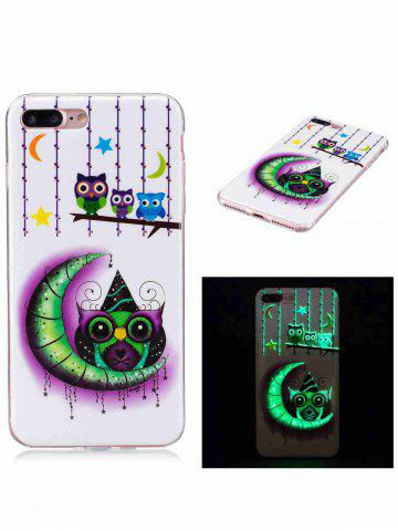 Shop Soft TPU Owl Moon Noctilucence Phone Cover For iPhone - FOR IPHONE 7 PLUS WHITE Mobile