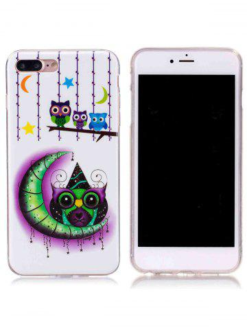 Chic Soft TPU Owl Moon Noctilucence Phone Cover For iPhone - FOR IPHONE 7 PLUS WHITE Mobile