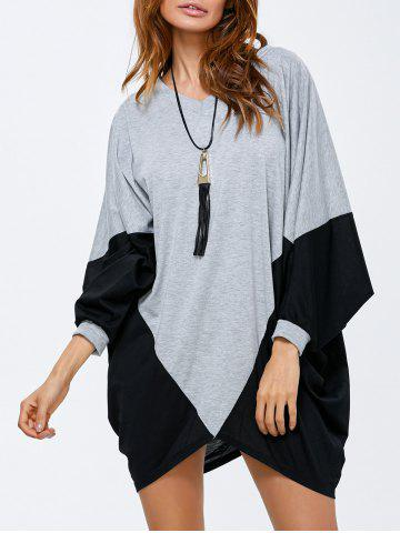 Fashion Batwing Sleeve Two Tone Dress