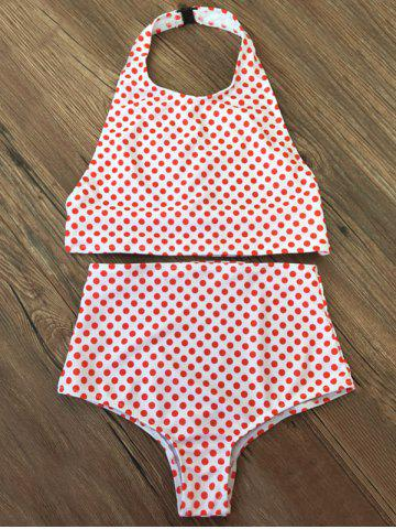 Halter Polka Dot High Waisted Thong Bikini - Red - M