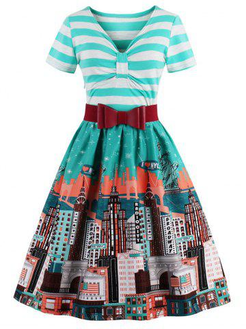 Outfit Striped Bowknot Printed Flare Dress CYAN 2XL