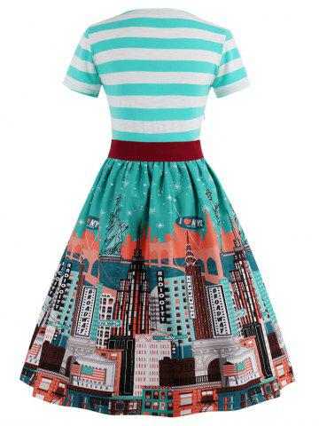 Latest Striped Bowknot Printed Flare Dress - XL CYAN Mobile