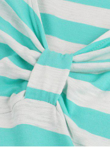 Hot Striped Bowknot Printed Flare Dress - XL CYAN Mobile