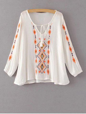Shops Embroidered Peasant Blouse WHITE L