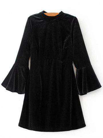 Cut Out Velvet Bell Sleeve Dress - Black - S