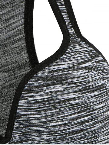 Cheap Low Impact Heathered Sports Bra - L GRAY Mobile