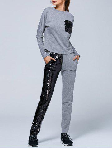 Unique Pocket Sweatshirt and Sequins Jogger Pants - S GRAY Mobile