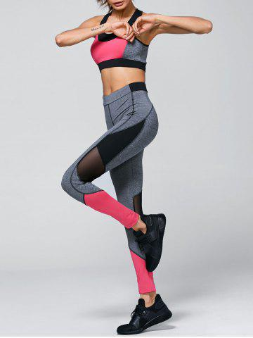 Outfit Color Block Bra and Mesh Insert Leggings