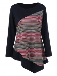 Long Sleeve Colorful Striped Asymmetric Tunic T-Shirt -