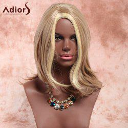 Adiors Side Parting Highlight Slightly Curled Medium Synthetic Wig