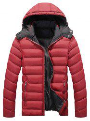 Zip Pocket Hooded Padded Jacket - RED 2XL