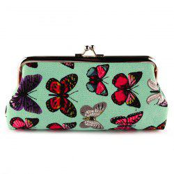 Kiss Lock Butterfly Print Clutch Bag - GREEN
