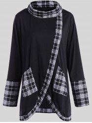 Plus Size Plaid Insert Asymmetrical Tee