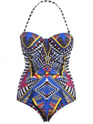 Plus Size Halter Tribe Print Swimwear