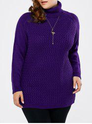 Plus Size Turtleneck Raglan Sleeve Sweater - PURPLE