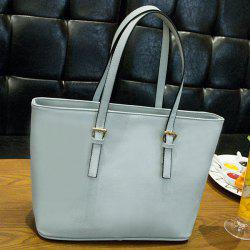 Faux Leather Buckle Straps Shoulder Bag - GRAY