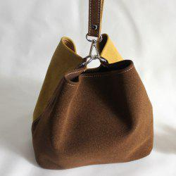 Suede Color Block Bucket Bag