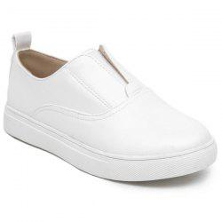 Round Toe Elastic Flat Shoes - WHITE